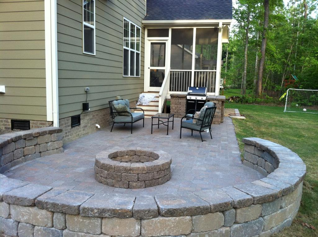 Patios retaining walls cary landscape inc for Porch patio